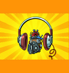 Headphones and steampunk heart motor vector