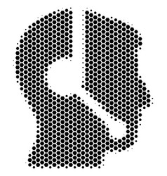 hexagon halftone call center operator icon vector image