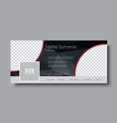 Horizontal banner design for the social network vector