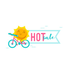 Hot summer sale banner with kawaii sun personage vector