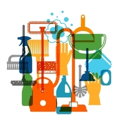 Housekeeping background with cleaning icons Image vector image
