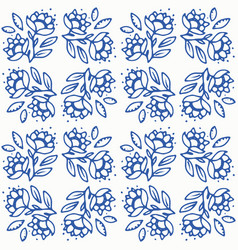 Indigo blue and white seamless floral pattern vector
