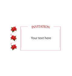 invitation copyspace template with red flowers vector image