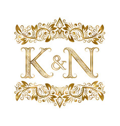 K and n vintage initials logo symbol letters vector