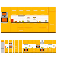 kitchen interior design set vector image