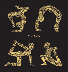 Lace female silhouettes set yoga logo elements vector