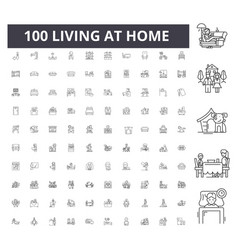 living at home line icons signs set vector image