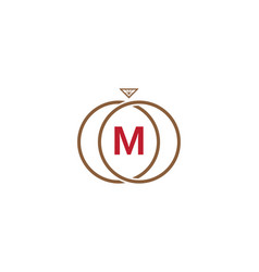 m letter ring diamond logo vector image