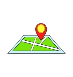 Map with pin pointers icon cartoon style vector image