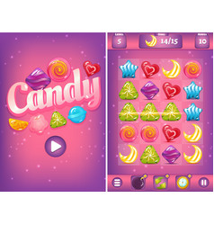 Match three game interface with candies vector