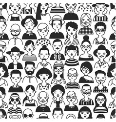 Monochrome seamless pattern with portraits old vector