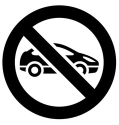 No cars and vehicles forbidden sign modern round vector
