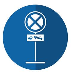 no parking road sign crane car shadow vector image