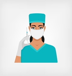 Nurse with syringe in medical mask and gloves vector