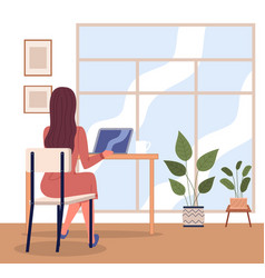 Office woman at a desk with a laptop back view vector