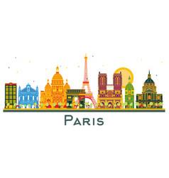 paris france city skyline with color buildings vector image
