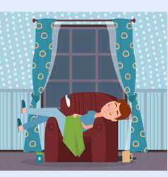 Person asleep in room night time male at home vector