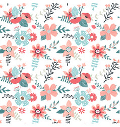 Pink spring flower seamless pattern background vector