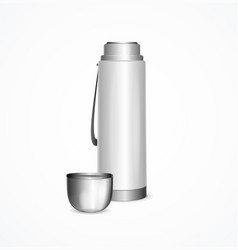 Realistic detailed 3d white blank thermos with cap vector
