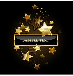 Rectangular Banner with Gold Stars vector image