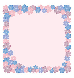 Rectangular frame with flowers pink blue maroon vector