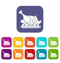 Roasted turkey icons set vector