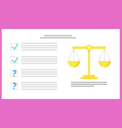 scale with enquete checklist and question mark vector image