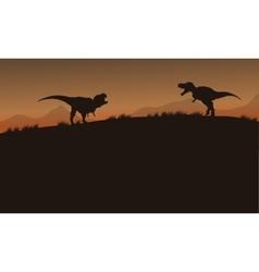 Scenery tyrannosaurus of silhouette vector
