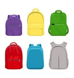 School backpack college realistic students handy vector