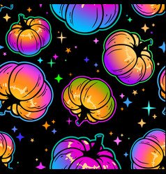 seamless pattern cool multicolored pumpkins vector image