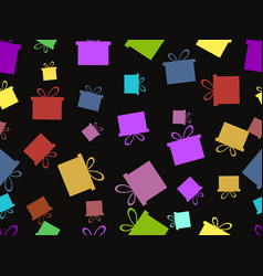 seamless pattern with gift boxes multicolor vector image