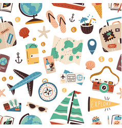 seamless pattern with touristic stuff like vector image