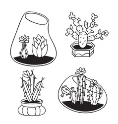 Set cactuses for coloring books vector