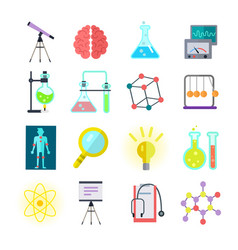 set of colorful science icons vector image