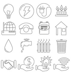 Set of icons in line style communal gas vector