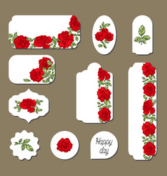 set of labels with red roses flowers vector image