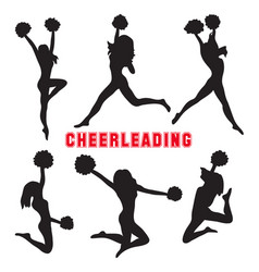 set silhouettes cheerleaders vector image