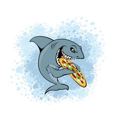 shark eating pizza vector image