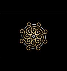 simple elegant star sun flower ornament vector image