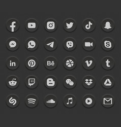 social media dark mode 3d round web icons set vector image