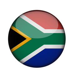 south africa flag in glossy round button of icon vector image
