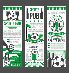 Sport bar invitation banner for football event vector