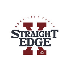 Straight edge badge label vector