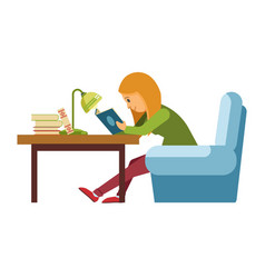 student girl reading book in library sitting on vector image