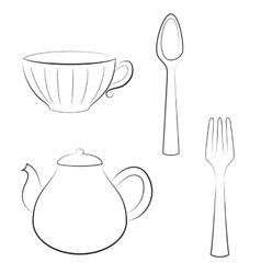 Styled set kitchen utensils vector