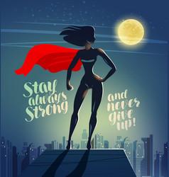 Superhero woman standing on roa vector