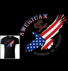 t-shirt design american eagle vector image