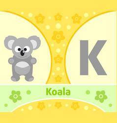 the english alphabet with koala vector image