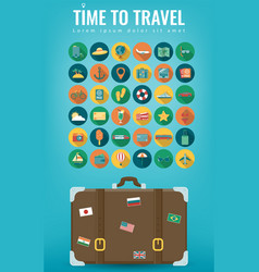 travel icons set travel and tourism concept flat vector image