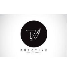 Tv modern leter logo design with black and white vector